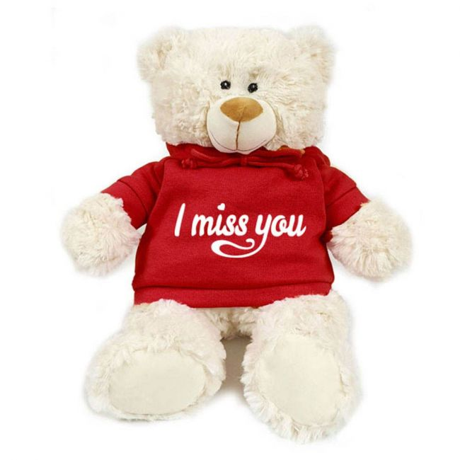 Caravaan - Supersoft Cuddly Teddy Bear With Trendy Red Hoodie - I Miss You