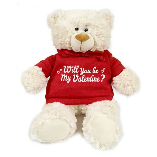 Caravaan - Supersoft Cuddly Teddy Bear With Trendy Red Hoodie - Will You Be My Valentine?.