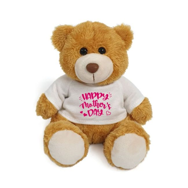 Caravaan - Supersoft Golden Teddy Tear with Happy Mother's Day Message on white T-shirt-size 15cm
