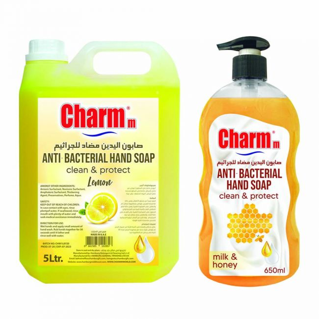 Charmm - Antibacterial Liquid Hand Soap Lemon 5L + Hand Soap Milk & Honey 650Ml Free