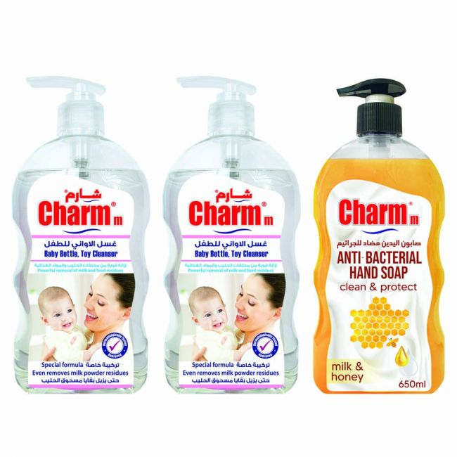 Charmm - Baby Bottle & Toy Cleanser 650Ml Pack Of 2 + Hand Soap Milk And Honey 650ml Free