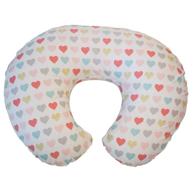 Chicco Boppy Pillow with Cotton Slipcover, Hearts