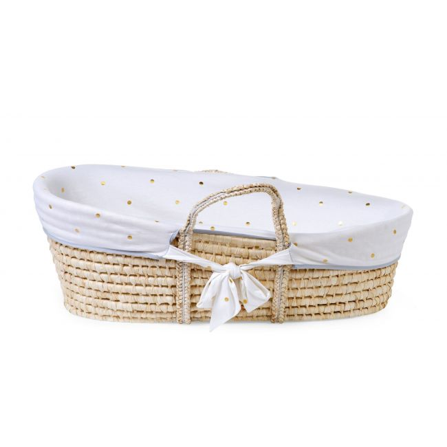 Childhome - Moses Basket Cover Gold Dots - White