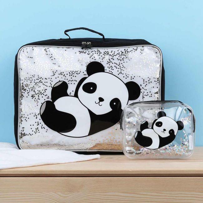 A Little Lovely Company Suitcase - Glitter - Panda