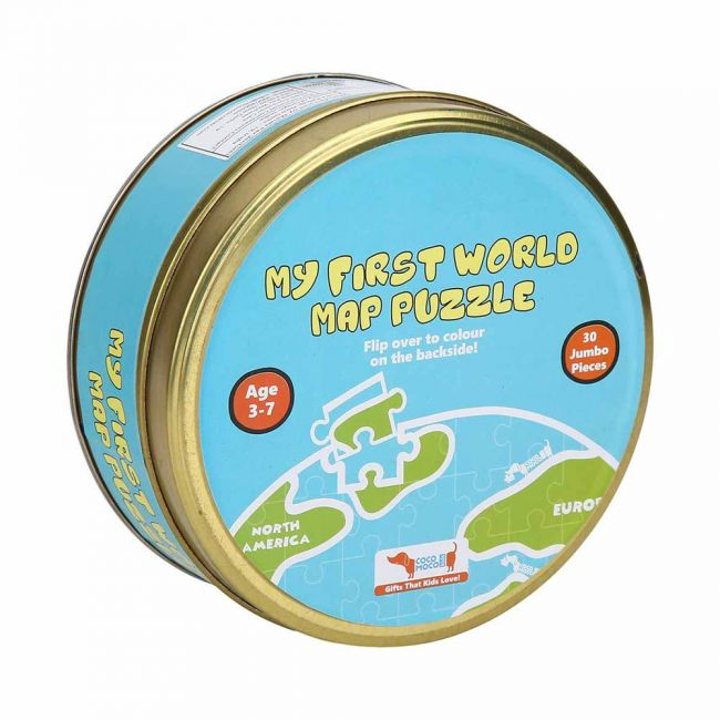 Cocomoco kids - World Map Puzzle 30 pcs 2in1 Colouring Puzzle
