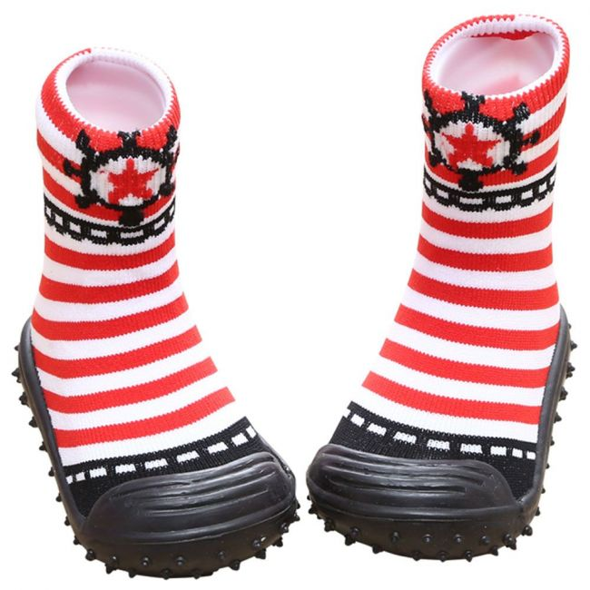 COOL GRIP Baby Shoe Socks Sailor Red Stripes