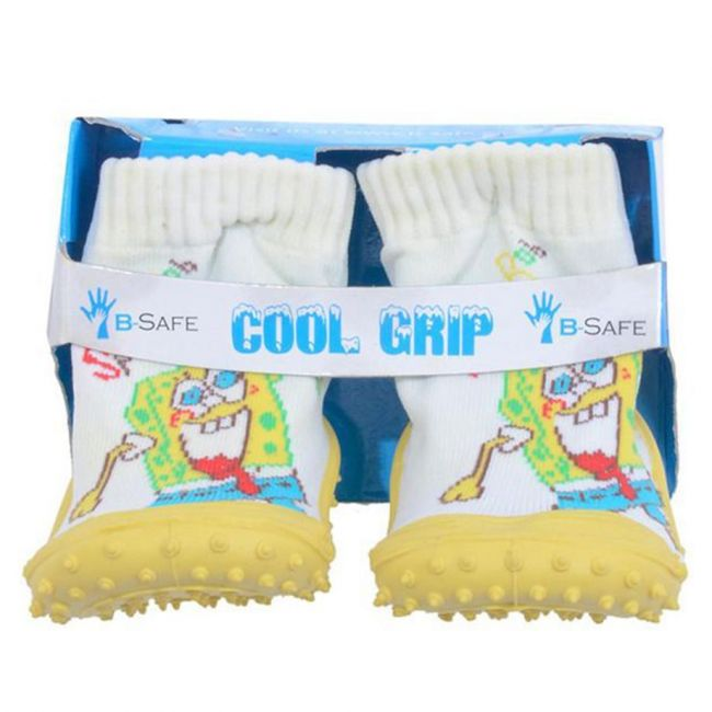Cool Grip Yellow Baby Shoe Socks Sponge Bob