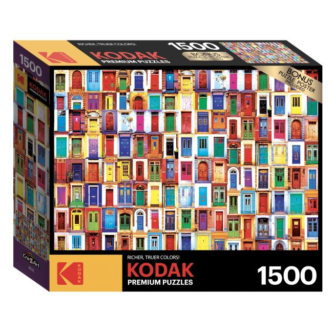 Cra-Z-Art - Kodak 1500 Pieces Puzzle Asst. Collage Of Ancient Colorful Doors From Around The World