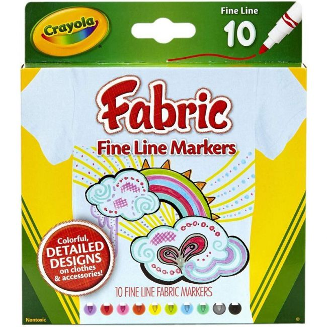 Crayola - 10 Ct. Fine Line Fabric Markers