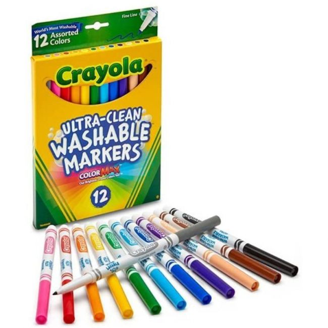 Crayola - 12 Ct. Ultra Clean Washable Assorted Broad Line Colormax Markers