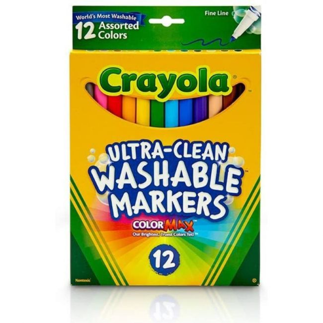 Crayola - 12 Ct. Ultra Clean Washable Assorted Fine Line Colormax Markers