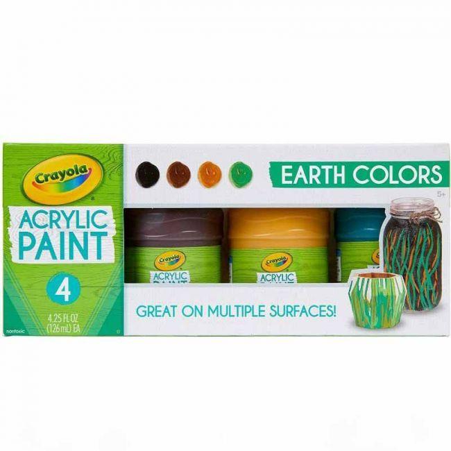 Crayola - 4 Ct. 4 Oz. Multi Surface Acrylic Earth Colors