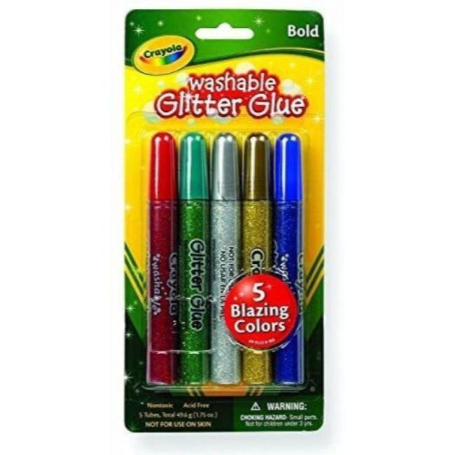 Crayola - 5 Ct. Washable Glitter Glue Bold Blazes