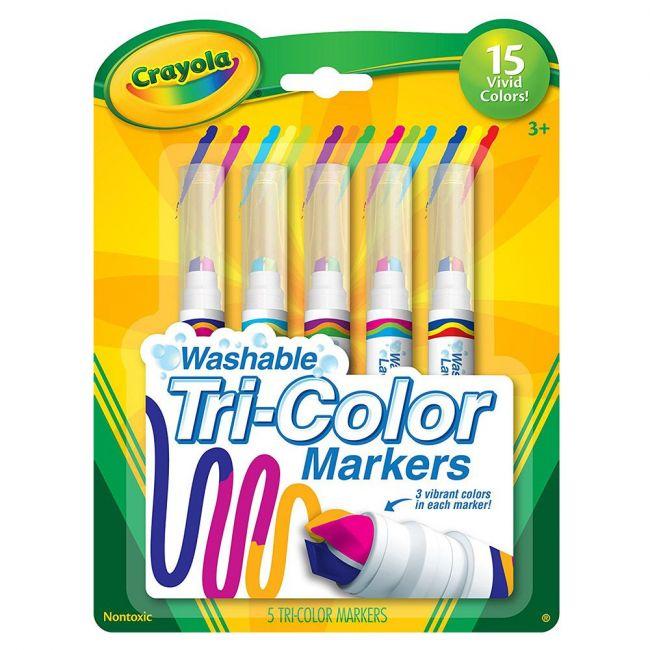 Crayola - 5 Ct. Washable Tri Color Markers
