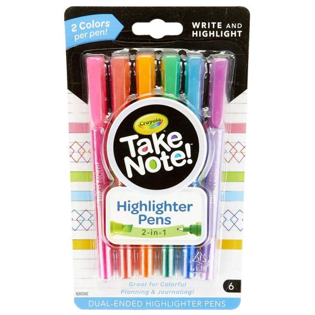 Crayola - 6 Ct. Take Note! Write And Highlight Pens