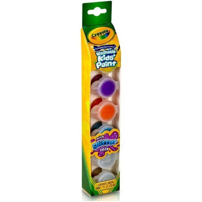 Crayola - 6 Ct. Washable Kids Paint Pots Glitter Effects