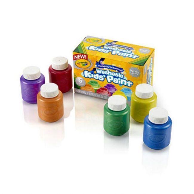 Crayola - 6 Ct Washable Metallic Paint