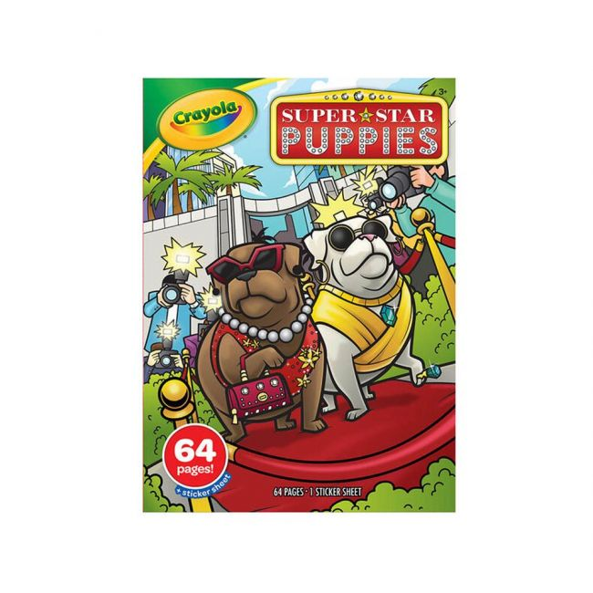 Crayola - 64 Page Coloring Book Stickers Super Star Puppies