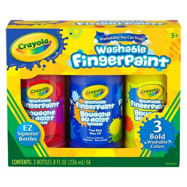 Crayola - 8 Oz Washable Finger Paint Bold Colors Pack Of 3