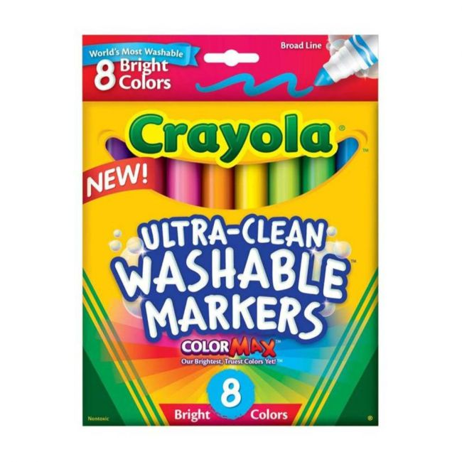 Crayola - 8 Ultra Clean Washable Bright Broad Line Markers