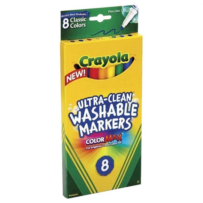 Crayola - 8 Ultra Clean Washable Classic Fine Line Color Max Markers