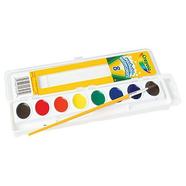 Crayola - 8 Washable Water Color Pans With Plastic Brush