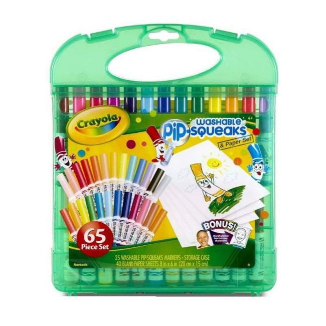 Crayola - Super Tips Washable Pip Squeaks And Paper 65 Piece Set