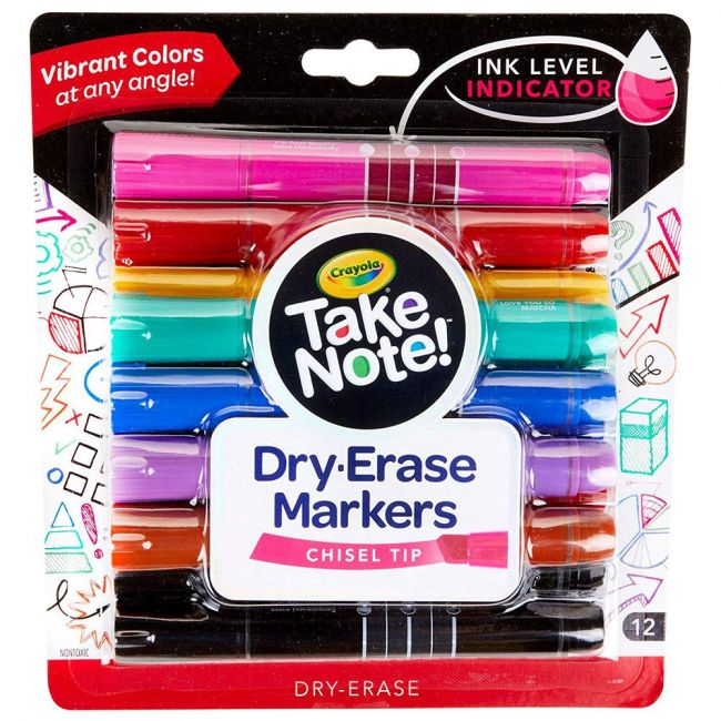 Crayola - Take Note Colored Dry Erase Markers 12 Count