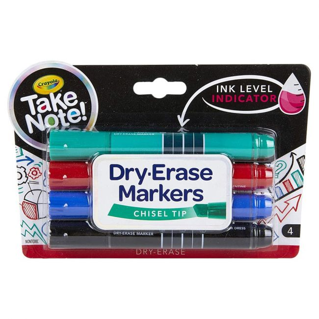 Crayola - Take Note Colored Dry Erase Markers 4 Count