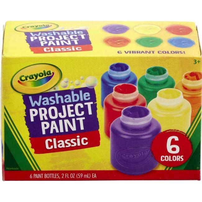 Crayola - 6 Ct. Washable Kids Paint 2 Oz. Bottles Assorted Colors Non Peggable
