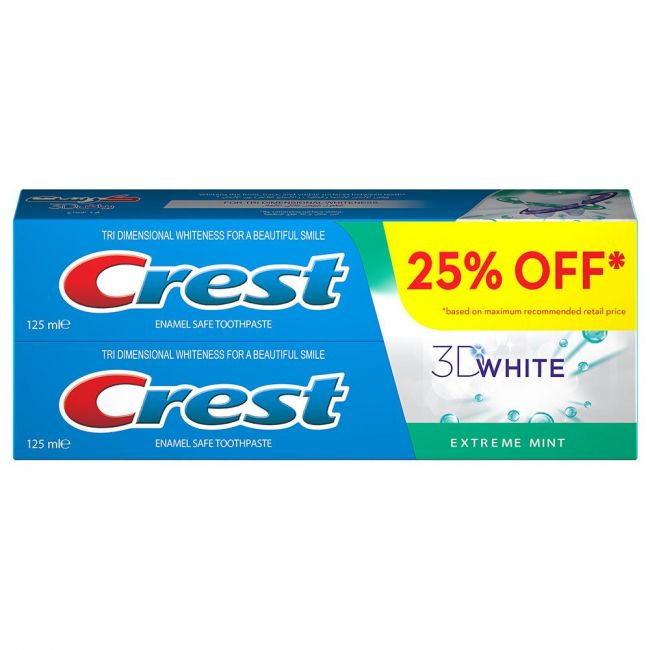 Crest - 3D White Extreme Mint Toothpaste Pack of 2 125ml