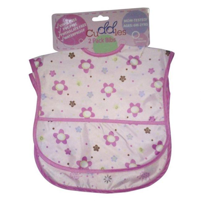 Cuddles Bibs - Pink Waterpoof Bib 2 Packs