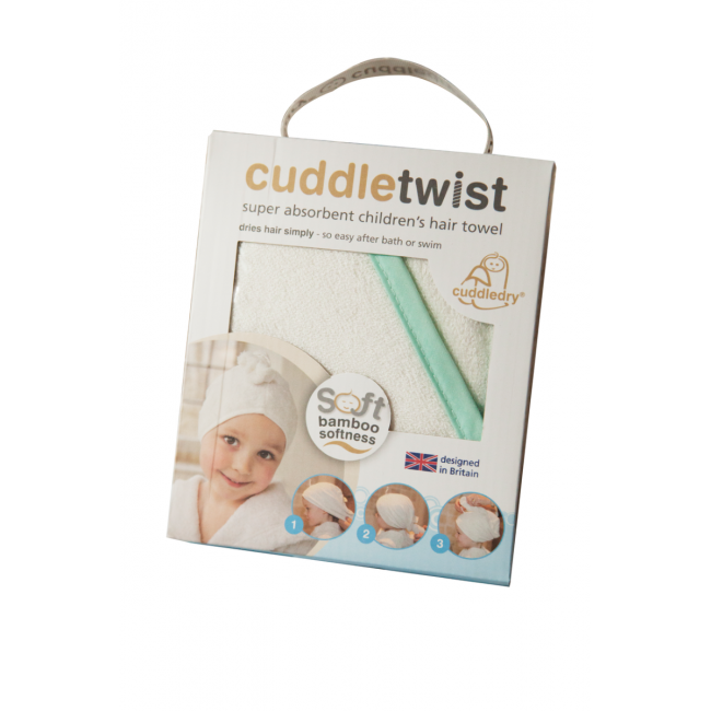 CuddleTwist - Bamboo Hair Towel White With Mint Edge