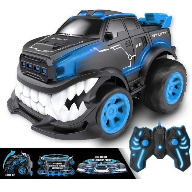 D-power - Remote Controlled Fold Shark 1:16 R/C Stunt Crawler Car - Blue