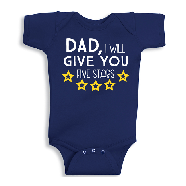 Twinkle Hands Dad I will give you 5 stars Baby Onesie, Bodysuit, Romper