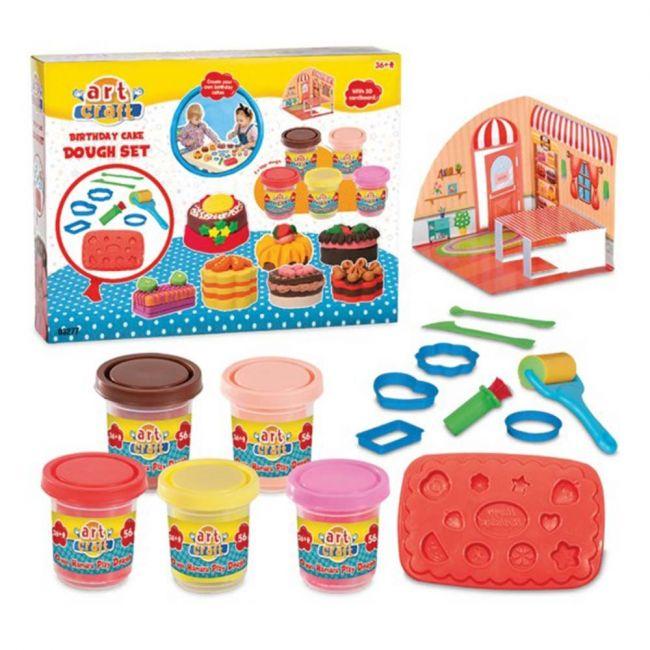 Dede - Art Craft Birthday Cake Play Dough Set Of 15 Pcs, Educational Toy