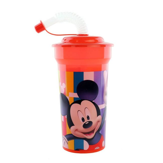 Disney - Mickey Mouse Print Cup With Straw & Lid - 400 Ml