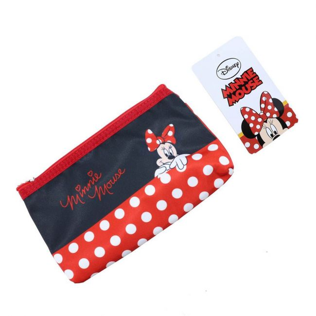 Disney - Minnie Makeup Cosmetic Travel Case Organizer Zipper Holder Handbag With Mirror