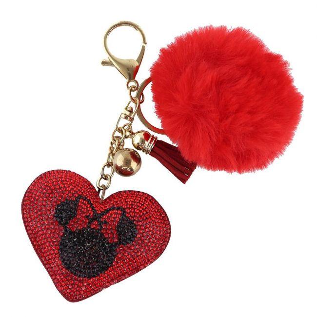 Disney - Minnie Mouse Elegant Heart Shaped Crystal Embellished Pompom Key Ring Chain