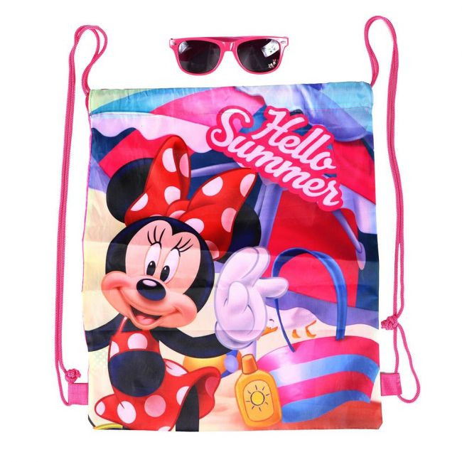 Disney - Minnie Mouse Printed Drawstring Bag With Sunglasses