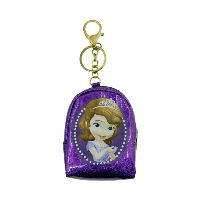 Disney - Sofia Keyring With Coin Pouch Glitter Badge Print Pouch For Girls