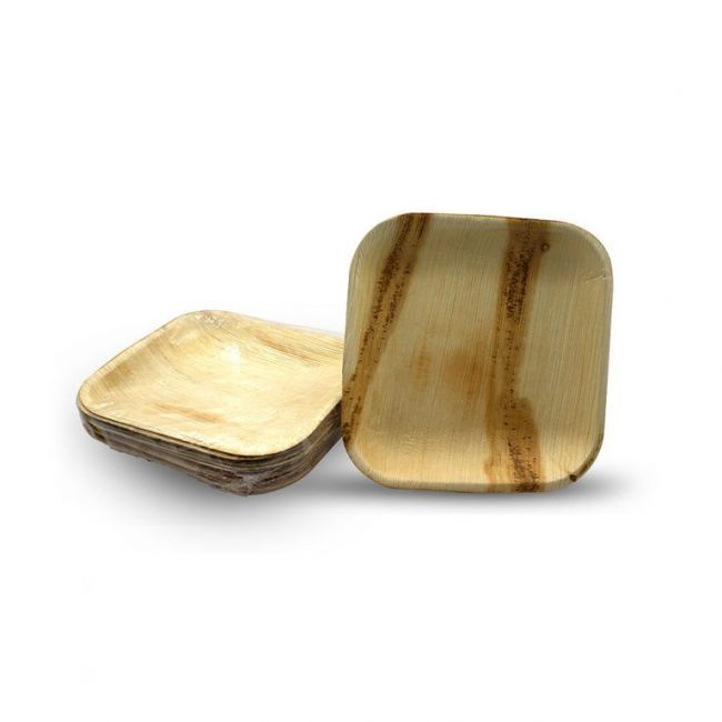 """Save The Planet - Disposable Plates -  10"""" Square Eco friendly plates made of Areca Palm Leaf - 10pcs set"""