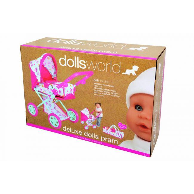 Dollsworld - Deluxe Dolls Pram Up To 46 Cms 18