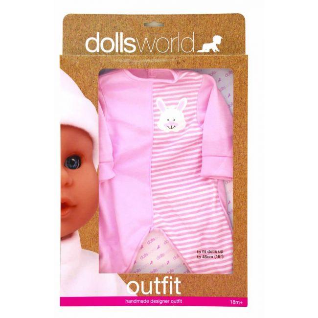 Dollsworld - Hand Made Designer Outfits For 46 Cms Dolls - Pink Bunny