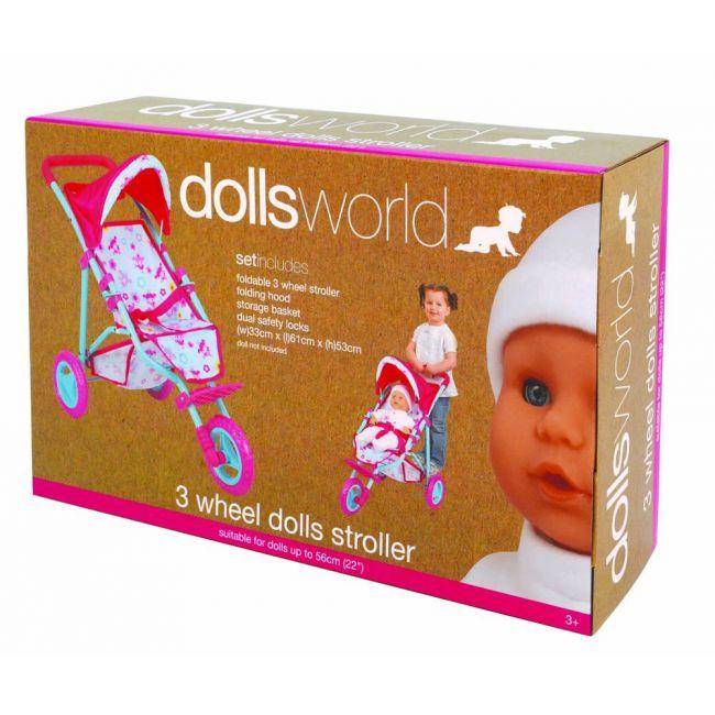 Dollsworld - Three Wheel Dolls Stroller Up To 56 Cms
