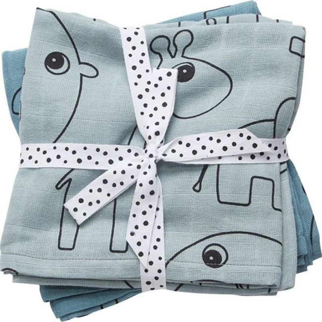 Done By Deer - Burp Cloth 2 Pack Contour - Blue