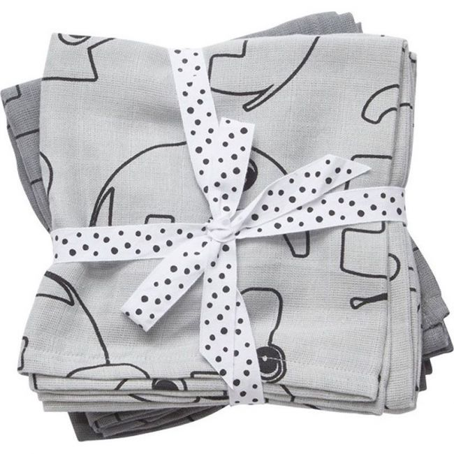 Done By Deer - Burp Cloth 2 Pack Contour - Grey