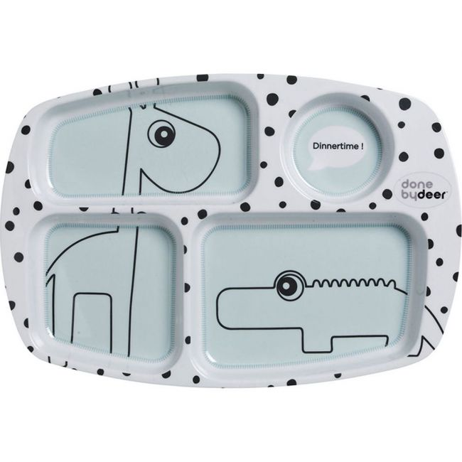 Done By Deer Compartment Plate Happy Dots Blue