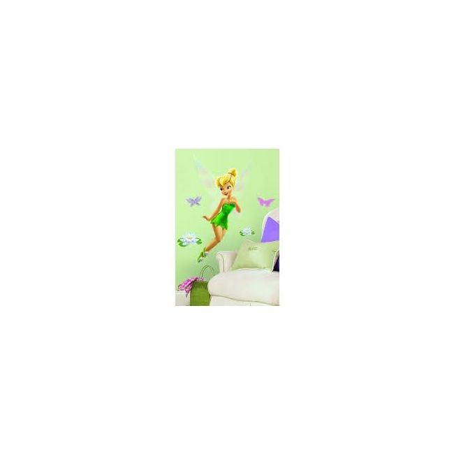 RoomMates Disney Fairies - Tinkerbell Peel & Stick Giant Wall Decal with Glitter