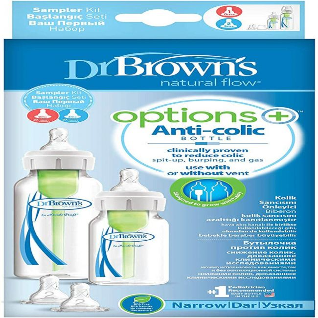 DrBrowns - Pp Narrow Options And Sampler Kit 1 X 120 Ml And 1 X 250 Ml Bottles 2 X L 2 Nipples 1 X Cleaning Brush